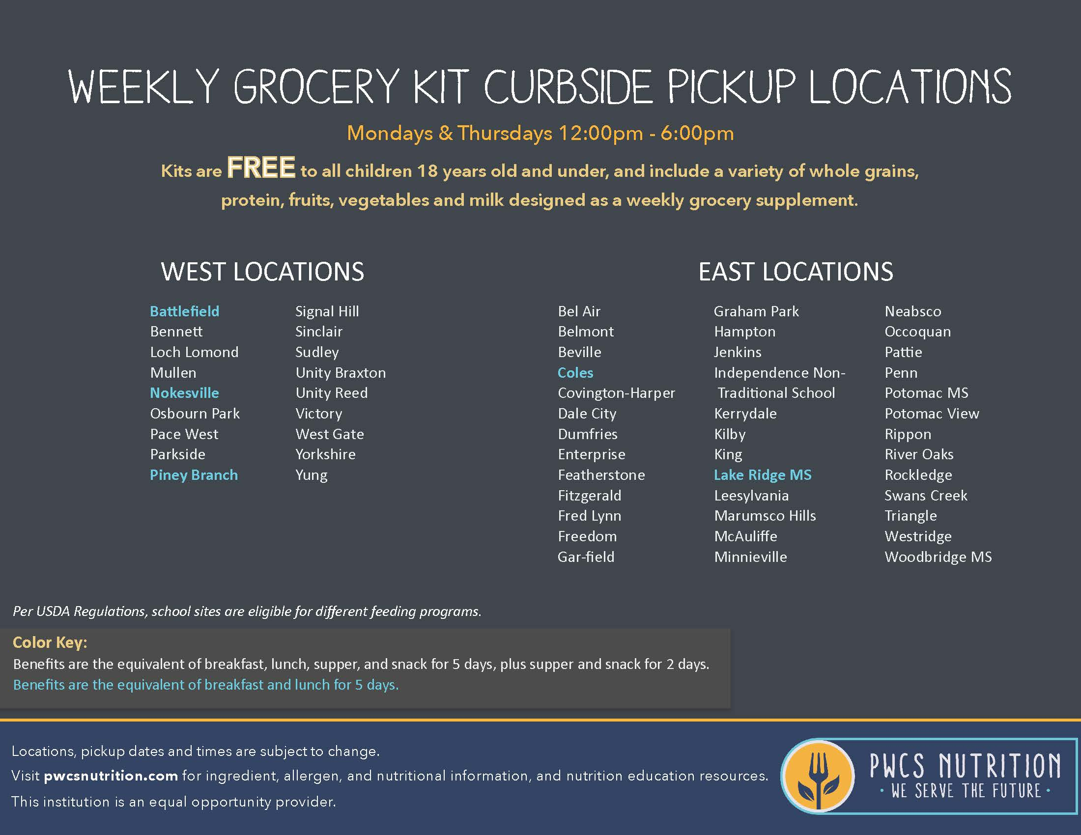 Free Weekly Grocery Kit Curbside Pickup Locations